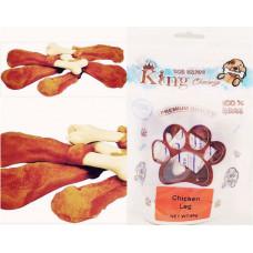 تشویقی دنتال مدل ران مرغ جویدنی دور گوشت مرغ و پوست دباغی شده King Chewy مخصوص سگ 95 گرمی