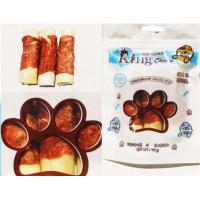 تشویقی ژلاتینی دنتال میله ای پهن جویدنی دور گوشت مرغ و پوست دباغی شده King Chewy مخصوص سگ 95 گرمی