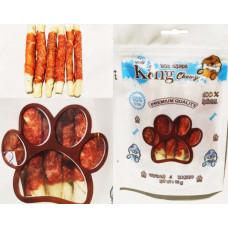 تشویقی دنتال میله ای جویدنی دور گوشت مرغ و پوست دباغی شده King Chewy مخصوص سگ 95 گرمی