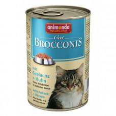 کنسرو گربه بروکنیز آنیموندا حاوی گوشت مرغ و ماهی پالاک مخصوص گربه، 400 گرمی