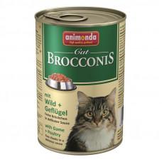 کنسرو گربه بروکنیز آنیموندا حاوی گوشت شکار و پرندگان مخصوص گربه، 400 گرمی