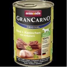 کنسرو گرن کارنو حاوی گوشت گاو و خرگوش و سبزیجات مخصوص سگ بالغ
