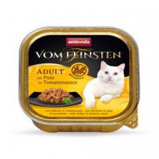 غذای کاسه ای ووم گربه بالغ آنیموندا فیستن بدون غلات حاوی گوشت بوقلمون در سس گوجه فرنگی 100 گرمی