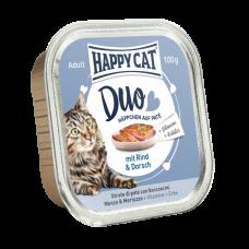 ووم گربه هپی کت با طعم گوشت گوساله و ماهی کاد 100 گرمی