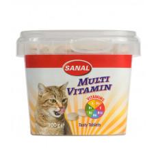 مکمل غذایی کاسه ای مولتی ویتامین به همراه کلسیم مخصوص گربه سانال 100 گرمی