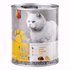کنسرو گربه یو اس پت حاوی گوشت بوقلمون و پنیر 400 گرم