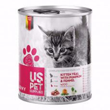 کنسرو بچه گربه یو اس پت حاوی گوشت گوساله، کدوتنبل و رازیانه 400 گرم